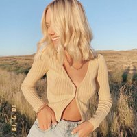 Womens Long Sleeve V-Neck Cropped Button Down Classic Sweater Knit Cardigan Cotton