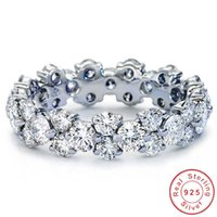 Choucong Wedding Rings Unique Vintage Jewelry Cocktail 925 Sterling Silver Round Cut White Topaz CZ Diamond Gemstones Party Promise Women Engagement Band Ring