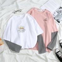 HARAJUKU Sonbahar Kadın Tees Üst Japon Tarzı Patchwork Çizgili Feminina T-Shirt Uzun Kollu Sevimli Karikatür Beyaz T Gömlek Mujer Kadın T-Shi