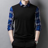 Men's fake two T-Shirt Top 2021 autumn new Plaid Lapel shirt men fashion casual bottomed shirts Cotton Blend