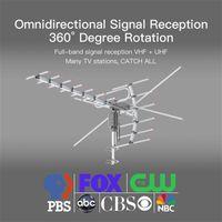 Leadzm TA-001 360 ° rotativo UV Dual-Etapa 45-230MHz / 470-860MHz 15-22DB Antena al aire libre Negro de 8 metros de alambre