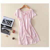 NOUVEAU 100% Pure Silk KnightPOWN Basic Nightdress Vêtements De Sleepwear Soft Hear Robe d'été pour Soins de la peau Multicolore