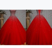 Bling Red Beaded Quinceanera Dresses Strapless Lace-up Prom Evening Formal Gowns Long Party Sweet 16 Dress Vestidos De Festia alexander mcqu