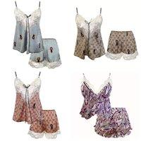 Spitze Damen Weste Shorts Pyjamas Set Brief Druck Homewear Sonstiges Textil Dünne sexy Damen Nachtwäsche Nachthemd