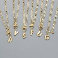 Colliers initiaux d'or personnalisés pour femmes filles punk ot boucle pomperclip chaîne collier collier bijoux cadeaux