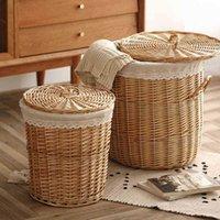 Bolsas de lavandería Mimbre Cesta sucia Cesta Cabalina Caja de almacenamiento Pot Shop Weing Ropa T200224 3 3ZR0
