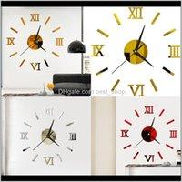 3D оригинальность настенные часы многоцветные римские цифры зеркала стереоскопическая паста DIY домашний декор часы современный стиль 6yya f2 lnj vo5hz