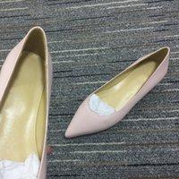 2021 Yaz Kadın Pembe Ayakkabı Slip-on Kırmızı Düz Alt Topuklu Grnuine Deri Cut-Out Glitter Perçinler Rhinestone Ofis Kariyer Parti Boyutu 35-41