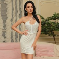 Ocstrade White Party Dress Arrival Sexy Bodycon Women Summer One Shoulder Night Club es Birthday Outfits 210527