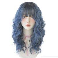 Menschliche Haarperücken 18 Zoll 46cm Meer Blue Air Bangs Micro-Roll-Frauen-volle Kopfbedeckung