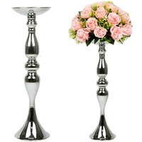 銀製の金属製のキャンドルホルダー50cm / 32cmのスタンドの花の花瓶燭台としての燭台結婚式/テーブルセンターピース数20066 sh190924
