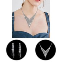 Earrings & Necklace Jewelry 1 Set Stylish Hollow Out Shiny Choker Skin-friendly Women For Banquet