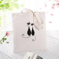 أكياس التسوق القط قماش حمل حقيبة يد حقيبة مخصصة طباعة النص diy اليومية استخدام Eco Ecologicas إعادة استخدام إعادة الاستخدام