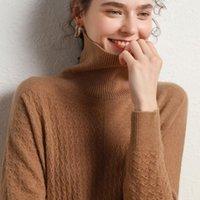 Женские свитеры Белиарст 2021 100% Чистая шерсть Кашемировой свитер Женщины Высокая шеи Пуловер Осень и зима Мода Теплый вязаный база
