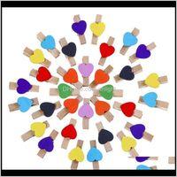 Inny świąteczny dom ogród Dostawa 2021 Party Supplies Cute kolorowe klipy drewniane Kształt serca Clothespins Clip Paper Peg Rh03990 Cabnx
