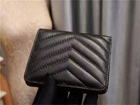 Wallet Wallet Designer Billets Bolsa de damas Estilo corto Titular de la tarjeta Titular de la tarjeta Slot Monedero Real Cuero Negro Color Top Quilted Suave