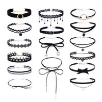 Partie Gothic Tattoo Coukers Colliers Set pour Femmes Noir Dentelle Collier long Collier Femme Collier Chaîne Mode Bijoux en gros