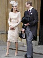 Vestidos informales Kate Middleton Vestido de encaje elegante manga larga con Maryt W048