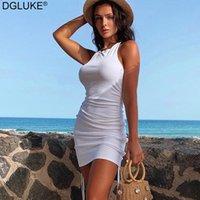 Casual Dresses Dgluke Baumwolle Ruhnierte Kordelzug Sexy Party Kleid Frauen Halter Backless Bodycon Mini Streetwear Club Outfits Weiß