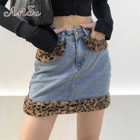 Patchwork Furry Leopard Hohe Taille Jeans Röcke Womens Casual Mode Pokcet Minirock Damen Harajuku Streetwear SK520481