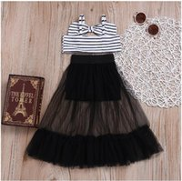 Kids Child Baby Girls Clothes Sets Stripe Sleeveless Crop Top Shirts Tulle Skirt Clothing Summer