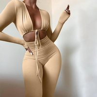 Women's Two Piece Pants Women Close-fitting Sexy Jumpsuit Spring Autumn Solid Color Long Sleeve Deep V-neck Hollow Out Overalls