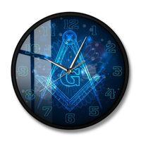 Master Mason Home Decor Freemason Logo Silent Non-ticking Wall Clock Hanging Watch Knights Templar Masonic Lodge Art Clocks
