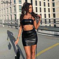 Сексуальная сплошная 2-х частей женской без рукавов, обернутой сундук + мини-дизайн DrawString Control Skirt 2021 улица PU кожи COO C0401