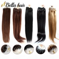 Extensões de cabelo de micro anel de loop de cabelo brasileiro # 1b