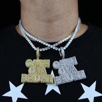 Cadenas 2021 Hiphop Iced Out Bling Bling Zircon Carta Efectivo OVA Broke Charm Chapado en oro Colgante Colgante para Hombres Boy Boy Rock Cadena de tenis Joyería