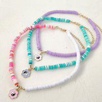 Pendant Necklaces Colorful Polymer Clay Beaded Necklace Women Metal Tai Chi Flower Choker Acrylic Flat RoundBead Strand Bohemian Jewelry
