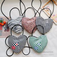 Girls plaid love heart handbags kids leopard grain large capacity single shoulder bag children PU leather messenger bags Q2558