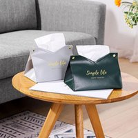 Tissue Box Cover Waterproof PU Leather Premium Storage Case Table Car Office Organization Drop Boxes & Napkins