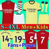 S- 4XL Arsen 축구 유니폼 팬 플레이어 버전 군대 21 22 Ødegaard Pepe Saka Thomas Willian Nicolas Tierney 2021 2022 축구 셔츠 남성 + 키트 키트 유니폼