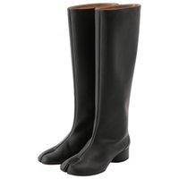 Boots Botas femininas com ponta rachada, salto alto grosso arredondado, inverno, sapatos para mulheres XNBE