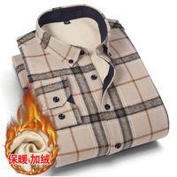 Men's Casual Shirts Shirt Dress Comfortable 2021 Winter Warm Plus Velvet Thickening Fashion Print Plaid Long Sleeve