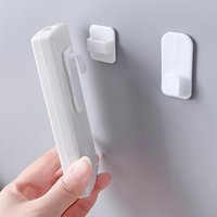 Hooks & Rails 2Pcs Set Plastic Sticky Hook Set Air Conditioner TV Remote Control Key Practical Wall Storage Strong Hanger Holder