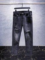 2021 PARD tiktop High quality Mens jeans Distressed Motorcycle biker jean Rock Skinny Slim Ripped hole stripe Fashionable snake hole Denim pants #136