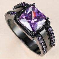 Elegante Vrouwelijke paarse Crystal Big Ring Charm 14KT Zwart Goud Trouwringen For Women Bruid van de luxe-plein Zirkoon Engagement