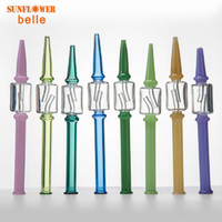 Smoking Pipe Colored Glass Filter Tips Round Mouth for Dry Herb nectar collector straw kits Length 190mm Bong Accessory