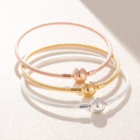 925 Sterling Silber Rose Gold Wire Charms Armbänder Fit Pandora Charms Frauen DIY Schmuck