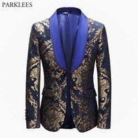 Men's Suits & Blazers Luxury Gold Floral Jacquard Blue Dress Men Shawl Collar Slim Fit Mens Tuxedo Suit Jacket Wedding Party Costume Homme