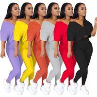 Großhandel Sommer Designer Trainingsanzüge 2 Stück Set Outfits Kurzarm Sportswear Slim Bat Hemd Hose Sport Anzüge Frauen Kleidung CK799