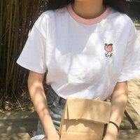 Pamuk Taze Tatlı Basit Düzenli Yaz Meyve Işlemeli Koleji Rüzgar Patchwork Gevşek Kısa Kollu Kadın T-Shirt Kadın T-Shirt