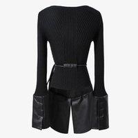 Siyah Dikiş PU Kadınlar Kazak Uzun Kollu Yuvarlak Yaka Kore Moda Kadın Kazak 2021 Bahar Gelgit Kadınlar