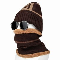 Hats, Scarves & Gloves Sets 2pcs Warm Fleece Letter Knitted Caps Set Men Winter Hats Scarf Ring Male Outdoor Ski Snow Cycling Accessories