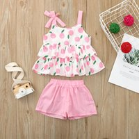 Toddler Kids Baby Girls Set Sleeveless Ribbed Ruffled Floral Fruit Printed Tank Top Bowtie Tops Shorts Outfits Girl Clothes Clothing Sets