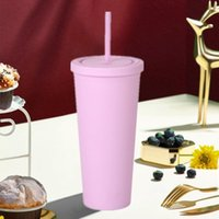 Mugs 24OZ Large-capacity Cone Water Bottle Frosted Ready-to-hand Drinkware Gifts Double-layer Plastic Straw Cup Coffee Drinking