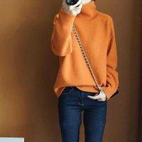 Women Turtleneck Sweater Thick Tops Minimalist OL Jersey Warm Casual Oversize Knit Jumper Pullover Autumn Winter G1008