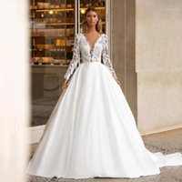 Other Wedding Dresses KapokDressy Fashion V-Neck A-Line Satin Sexy Backless Appliqued 2021 Long Bridal Gowns Plus Size1